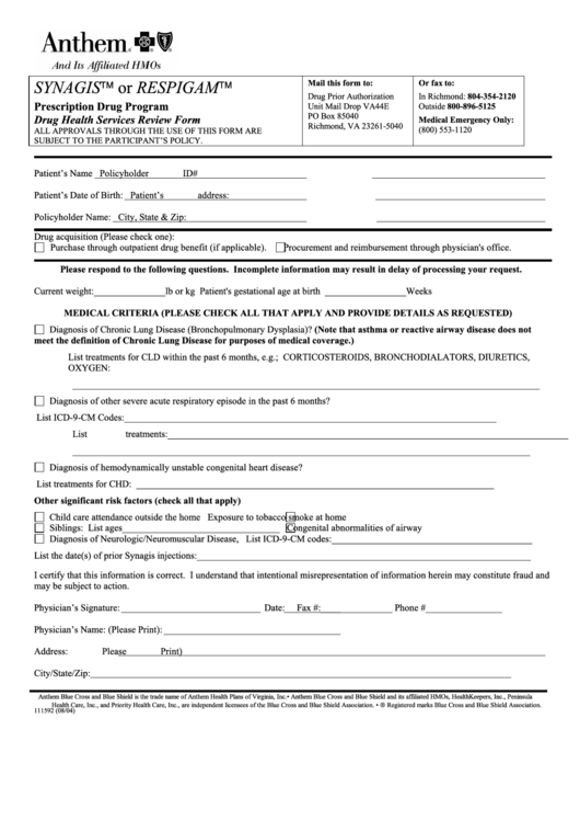 Drug Health Services Review Form