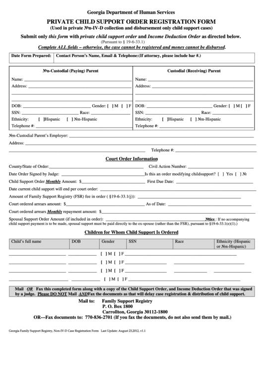 Private Child Support Order Registration Form Georgia