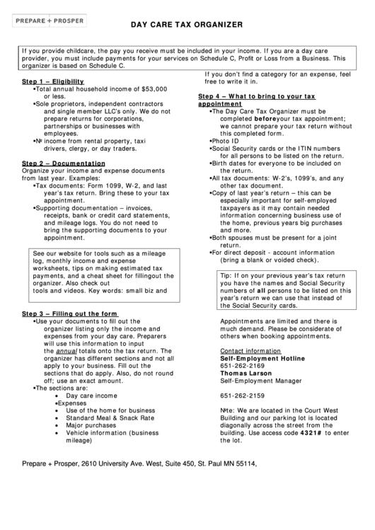 Day Care Tax Organizer Printable pdf
