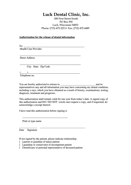 Authorization For The Release Of Dental Information Printable pdf