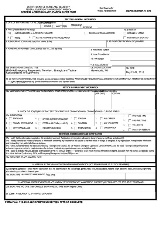 Fema Form 119-25-2 General Admissions Application Short Form ...