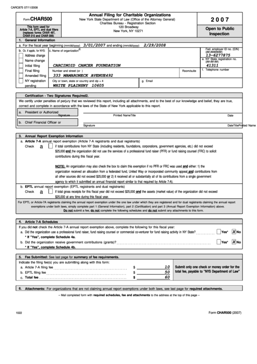 Form Char500 (2007) - Annual Filing For Charitable Organizations ...