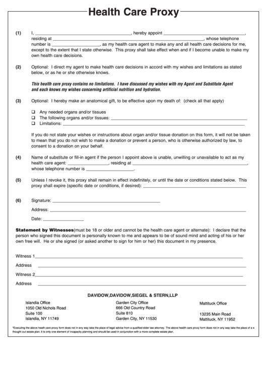 Health Care Proxy Form | Health Care Proxy Form New York