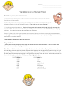 Variations On A Human Face Worksheet Template