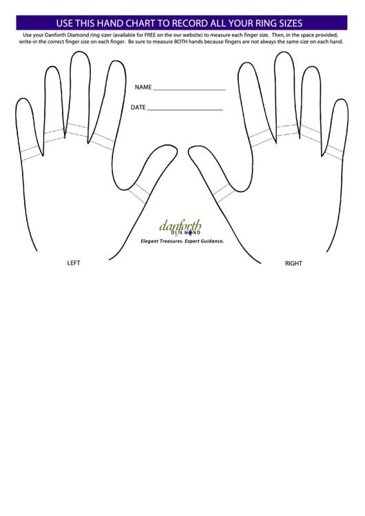 Ring Size Recording Chart Printable pdf