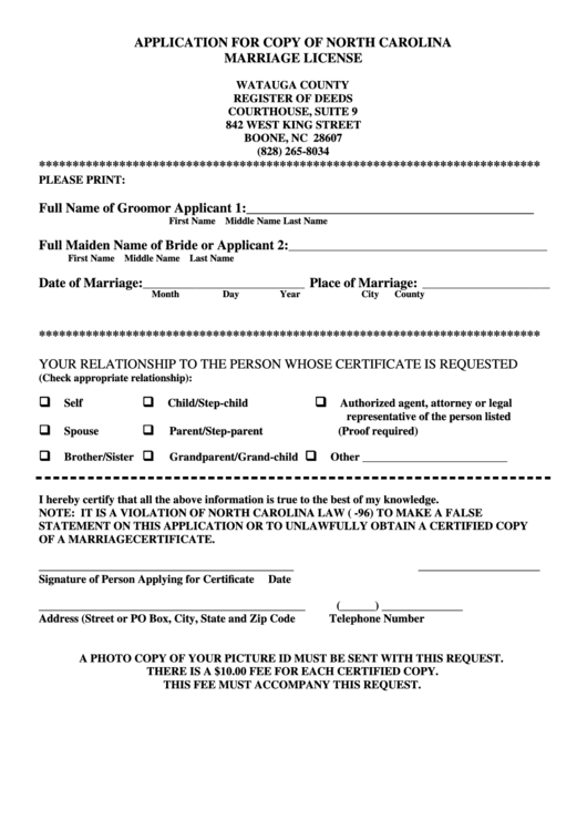Application For Copy Of North Carolina Marriage License Printable Pdf Download