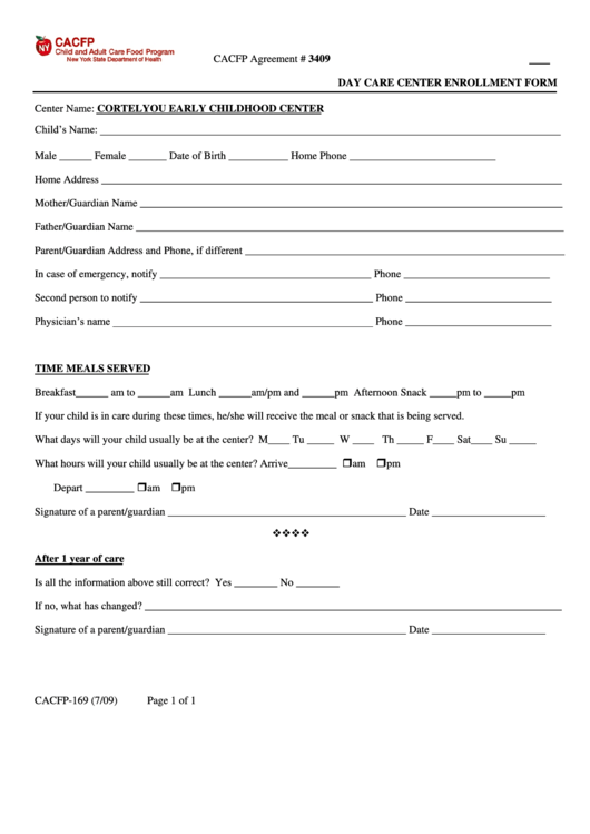 Day Care Center Enrollment Form Printable pdf
