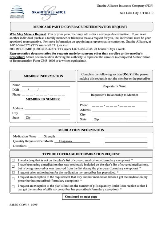 Medicare Part D Coverage Determination Request Form