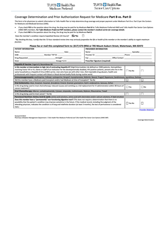 Tufts Coverage Determination Form And Prior Authorization Request For Medicare Part B Vs. Part D
