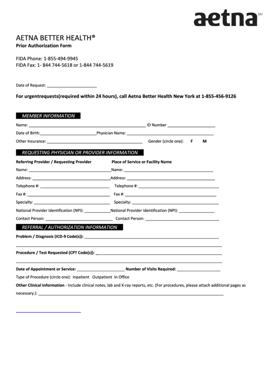 Aetna Prior Authorization Form printable pdf download