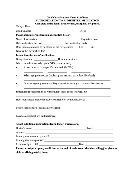 Authorization To Administer Medication Printable pdf