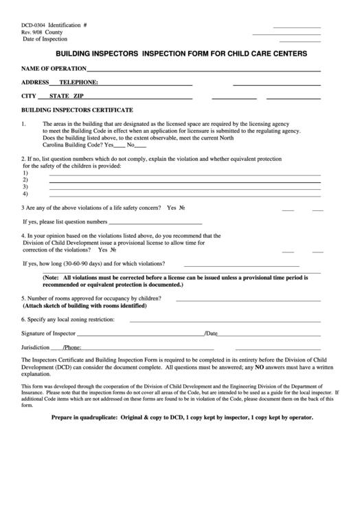 Building Inspectors Inspection Form For Child Care Centers Printable pdf