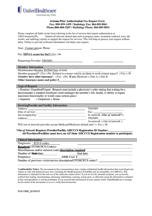 Fillable Arizona Prior Authorization Fax Request Form