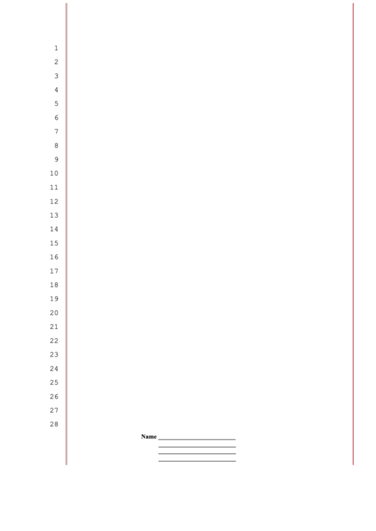 blank legal pleading paper 28 lines red lines personalized