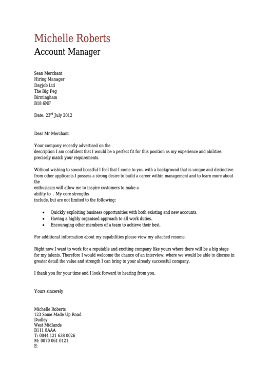 Account Manager Cover Letter Template Printable pdf