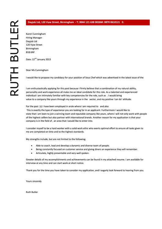 Sous Chef Cover Letter Sample Dayjob 2013 Printable Pdf Download