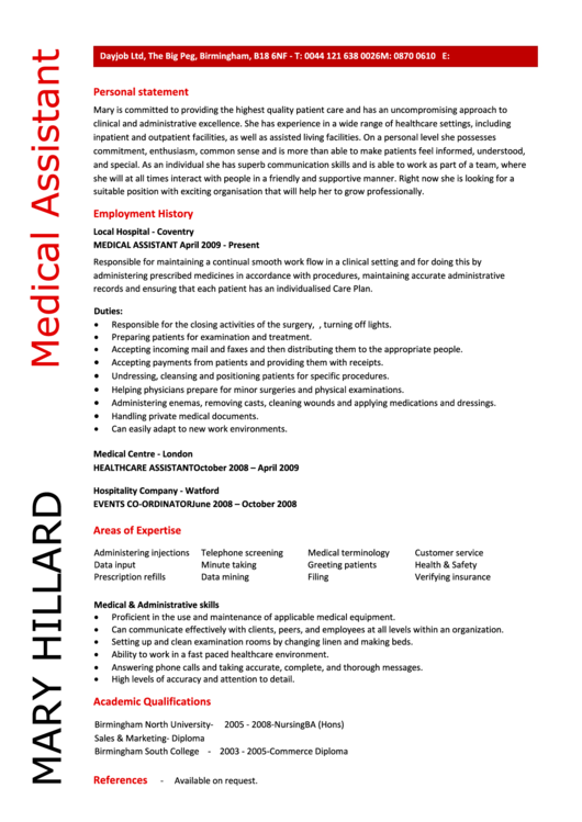 Mary Hillard Medical Assistant Template
