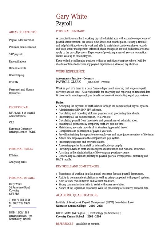 Gary White Payroll Template Printable pdf