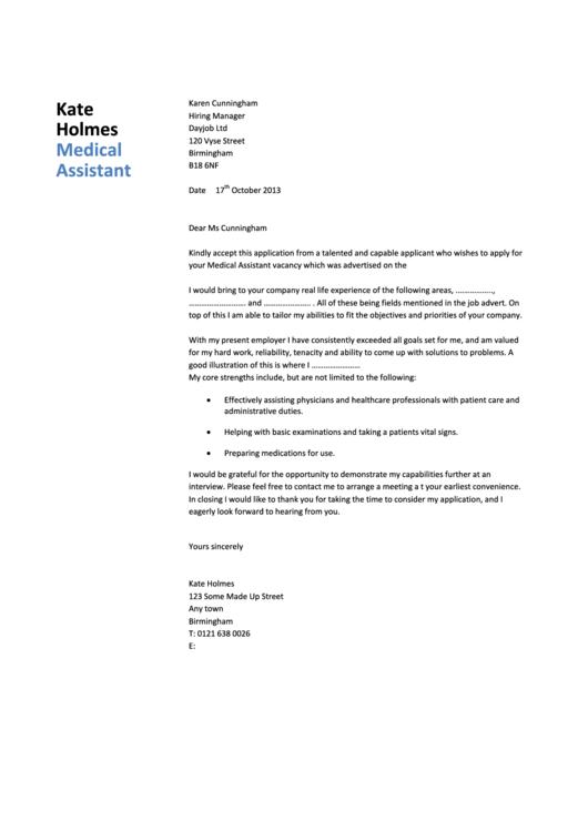 Medical Assistant Cover Letter Sample - Dayjob - 2013 Printable pdf