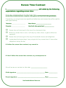 Screen Time Contract Template