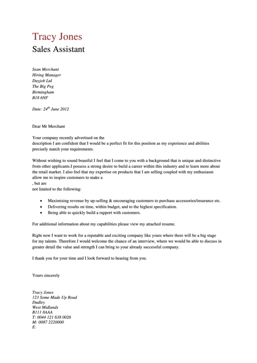 Sales Assistant Cover Letter Template Printable pdf