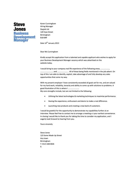 Business Development Manager Cover Letter Sample Dayjob 2013 Printable Pdf Download