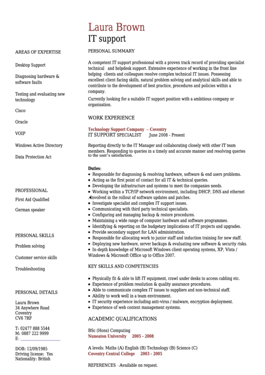 Laura Brown It Support Template Printable pdf