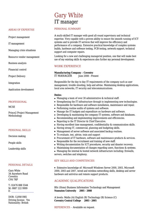 Gary White It Manager Template Printable pdf