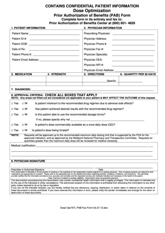 Prior Authorization Of Benefits (Pab) Form Printable pdf