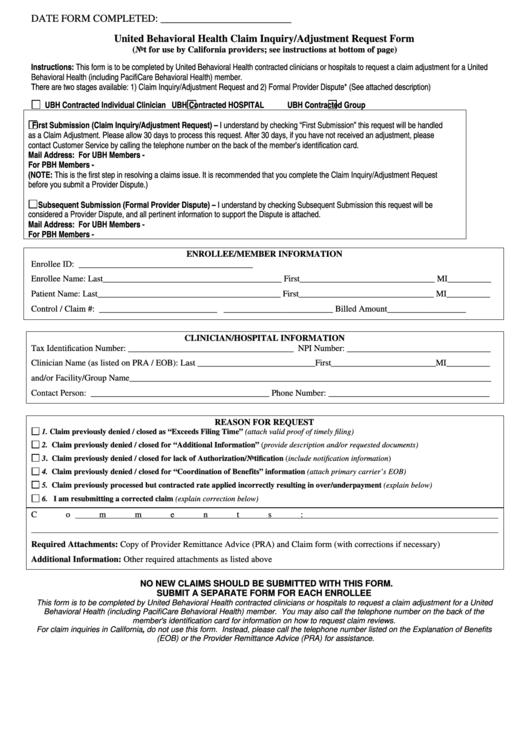 United Behavioral Health Claim Inquiry/adjustment Request ...