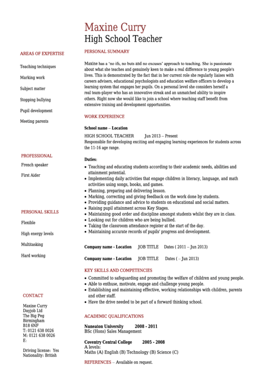 Maxine Curry High School Teacher Template Printable pdf
