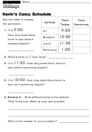 Kevin's Camp Schedule - Challenge Worksheet With Answer Key