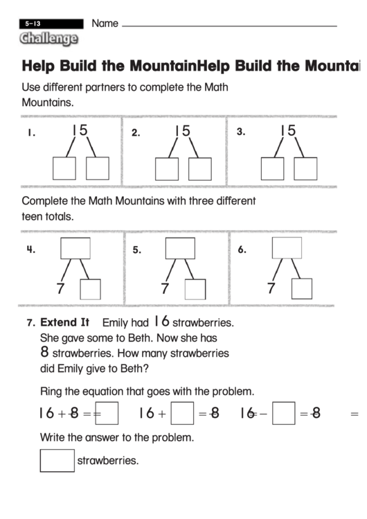Help Build The Mountain - Challenge Worksheet With Answer ...