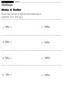 Make A Dollar - Challenge Worksheet With Answer Key