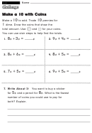 Make A 10 With Coins - Challenge Worksheet With Answer Key