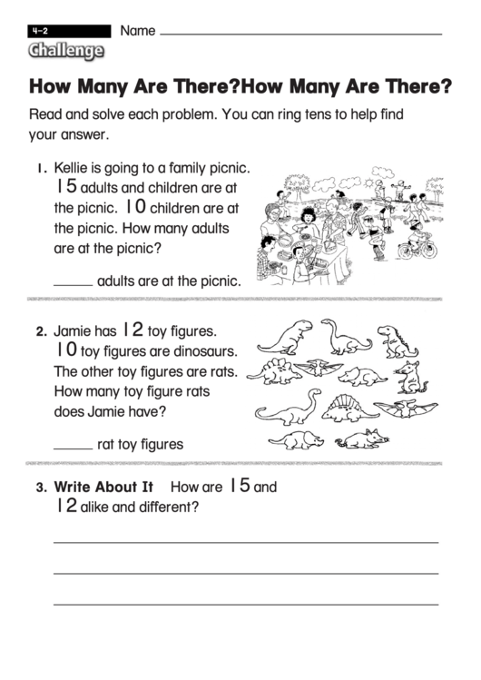 How Many Are There - Challenge Worksheet With Answer Key ...