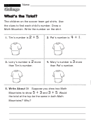 What's The Total - Challenge Worksheet With Answer Key