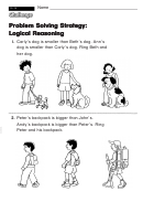 Problem Solving Strategy: Logical Reasoning - Challenge Worksheet With Answer Key