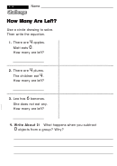 How Many Are Left - Challenge Worksheet With Answer Key