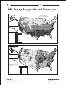 Usa: Average Precipitation And Temperature World Map Template