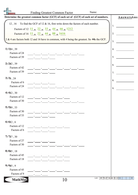 Finding Greatest Common Factor Worksheet Printable Pdf Download