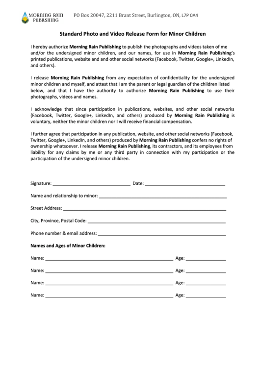 Standard Photo And Video Release Form For Minor Children