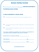 Summer Activity Contract Template