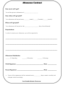 Allowance Contract Template