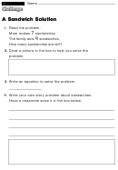 A Sandwich Solution - Challenge Worksheet With Answer Key