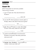 Count On - Challenge Worksheet With Answer Key