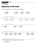Equations At The Pond - Challenge Worksheet With Answer Key