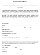 Automated Clearing House Form - Ach Debit Authorization For Prepaid Funeral Contract Sellers - Texas Department Of Banking