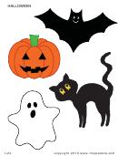 Black Cat, Bat, Pumpkin Halloween Templates