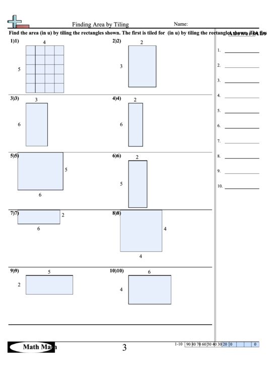 Finding Area By Tiling Math Worksheet With Answer Key ...